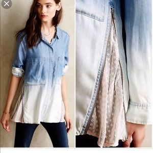 Holding horses chambray ombré lace shirt 2